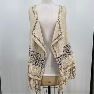 Miss me fringe vest tribal print cream size small